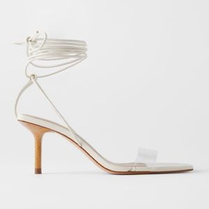 Zara off white heeled sandals with wood and vinyl